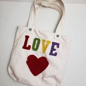 Handbags - 3/$20 LOVE Embellished Canvas Tote Bag